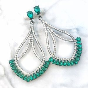 Cherryl's Jewelry - Large Emerald Green Crystal Event Earrings